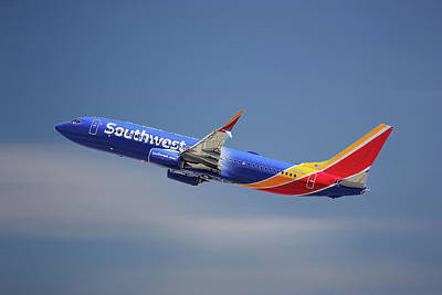 Mixed Media - Southwest Airlines Boeing 737-8h4 by Smart Aviation