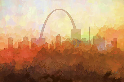 Digital Art - St Louis Missouri Skyline by Marlene Watson