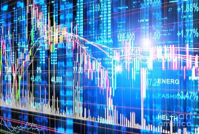 Financial Digital Art - Stock Market Concept by Setsiri Silapasuwanchai