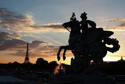 Paris Skyline Royalty-Free and Rights-Managed Images - Sunset in Paris by Carl Purcell