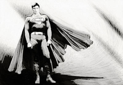 Batman Digital Art - Superman Print by Egor Vysockiy