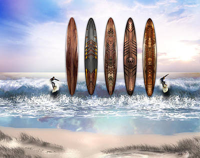 Surfing Art Art Print by Vjkelly Artwork