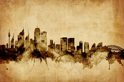 Sydney Skyline Digital Art - Sydney Australia Skyline by Michael Tompsett