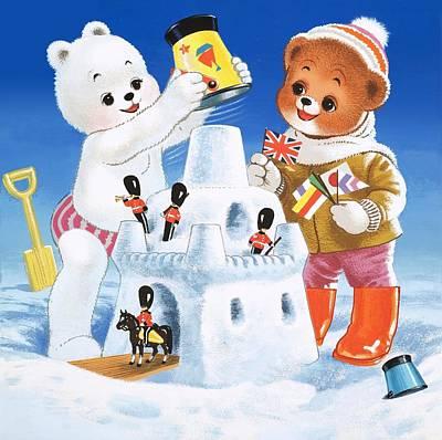 Teddy Bear Christmas Card Art Print by William Francis Phillipps