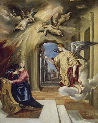 Gabriel Painting - The Annunciation by El Greco