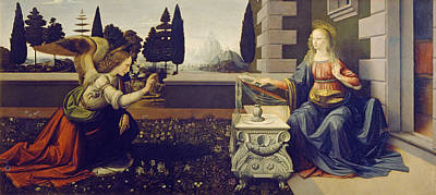 Saint Painting - The Annunciation by Leonardo da Vinci