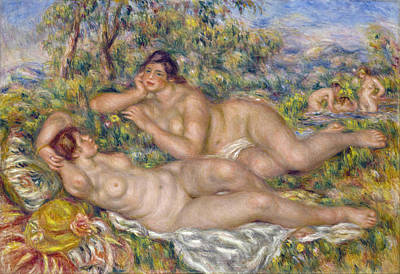 Outdoor Nude Painting - The Bathers by Pierre-Auguste Renoir