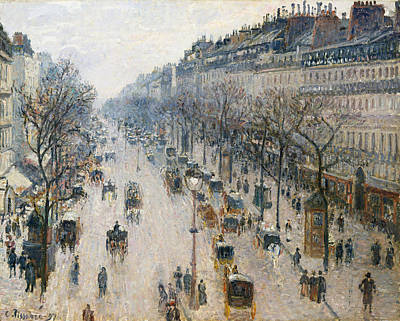 French Cities Painting - The Boulevard Montmartre On A Winter Morning by Camille Pissarro
