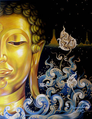 Painting - The Light Of Buddhism by Chonkhet Phanwichien