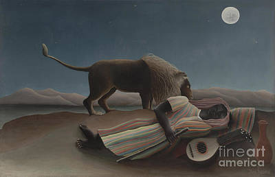 Lute Painting - The Sleeping Gypsy by Henri Rousseau