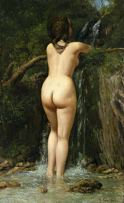 Nudist Painting - The Source by Gustave Courbet