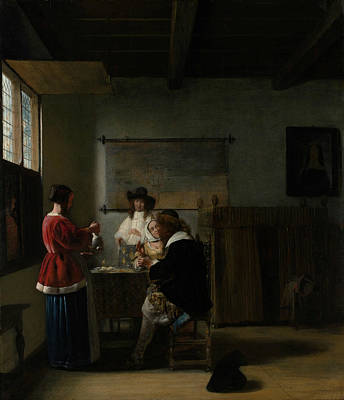 Painting - The Visit by Pieter de Hooch