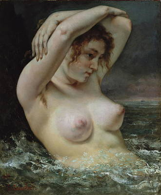 Nudist Painting - The Woman In The Waves by Gustave Courbet