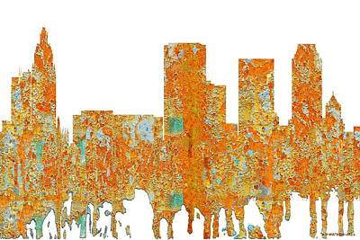 Digital Art - Tulsa Oklahoma Skyline by Marlene Watson