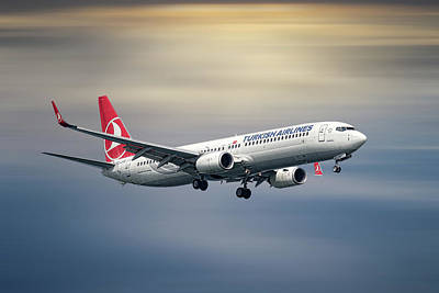 Mixed Media - Turkish Airlines Boeing 737-9f2 by Smart Aviation