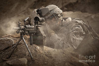 Ledge Photograph - U.s. Army Ranger In Afghanistan Combat by Tom Weber