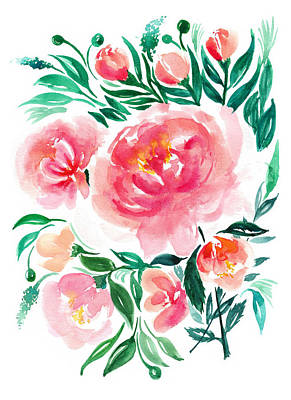 Watercolor Flower Painting Art Print by My Art