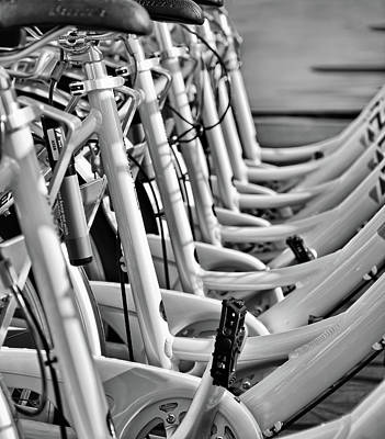 Photograph - 7 White Bikes - Urban Rental - Bw by Greg Jackson