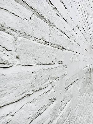 Brickwork Photograph - White Brick Wall by Tom Gowanlock