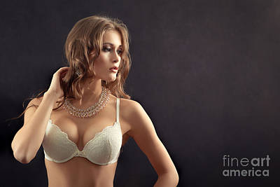 Woman In Lingerie Art Print by Aleksey Tugolukov