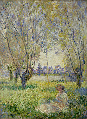 Tree Painting - Woman Seated Under The Willows by Claude Monet