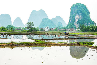 Photograph - Karst Rural Scenery In Spring by Carl Ning