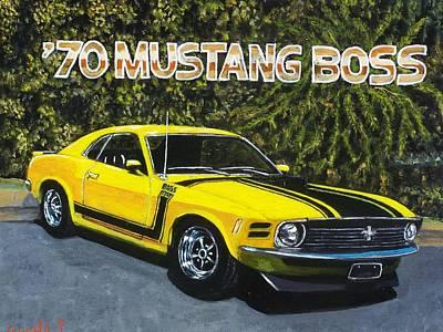 70 Mustang Boss Art Print by Charles Vaughn