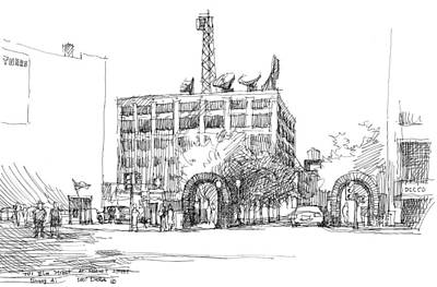 Dallas Drawing - 701 Elm Street, Dallas, Texas by Guang Ai