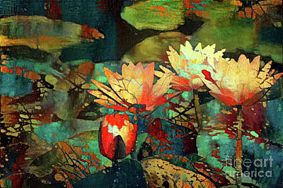 Jeweled Water Lilies Art Print