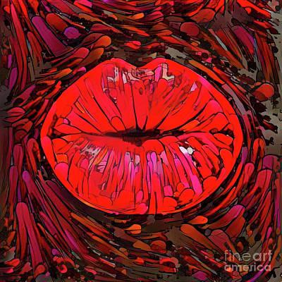 Kissing Lips Art Print
