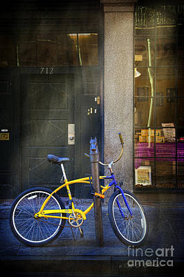 Photograph - 712 Yellow Blue Bike by Craig J Satterlee