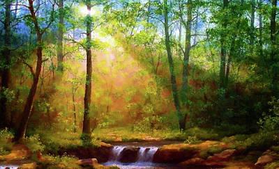 Green Painting - Nature Art Landscape by Edna Wallen
