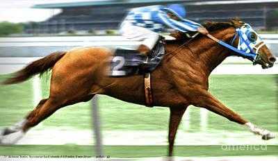 Sailfish Mixed Media - 1973 Belmont Stakes, Secretariat, Back Stretch, 1 12 Miles, 2 Min 24 Sec by Thomas Pollart