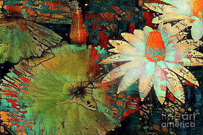Rust Digital Art - Jeweled Water Lilies by Amy Cicconi