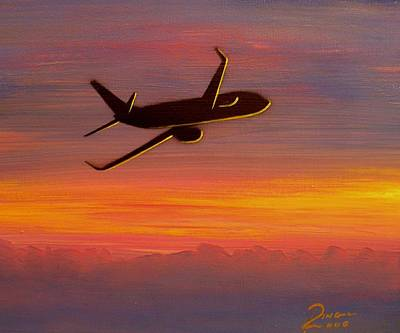 Retro Wall Art - Painting - 737-8 Sunset by Peter Ring Sr