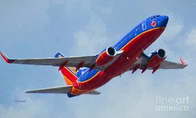 Passenger Plane Mixed Media - 737 In Flight.  by Garland Johnson