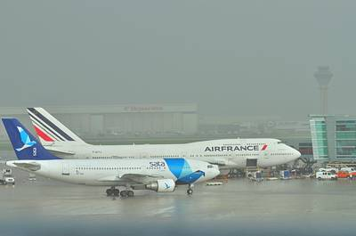 Photograph - 747 Air France And Sat In The Rain  by Puzzles Shum