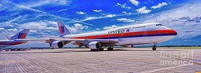 Photograph - 747 Ua White Livery   by Tom Jelen