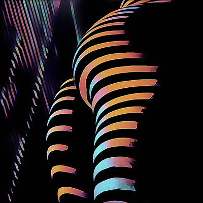 Digital Art - 7485s-mak Zebra Striped Butt Bum Woman By Window In Composition Style by Chris Maher