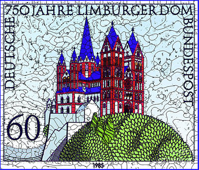 Painting - 750 Years Of Limburger Dom by Lanjee Chee