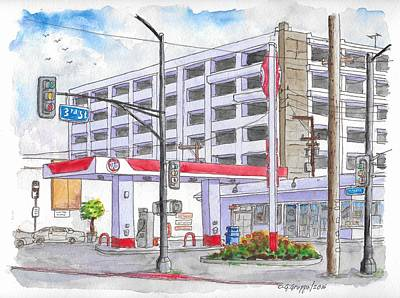 76 Gas Station In 3rd Street And Robertson Blvd, Beverly Hills, California Original by Carlos G Groppa