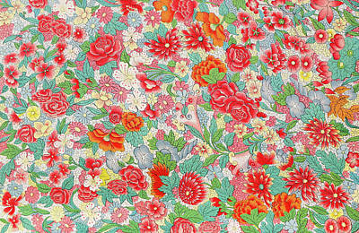 Mixed Media - Colorful Red Flowers Art Pattern Prints - Bright Pastel Floral Art by Wall Art Prints