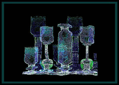 Painting - 762 - Bottle And Glasses by Irmgard Schoendorf Welch