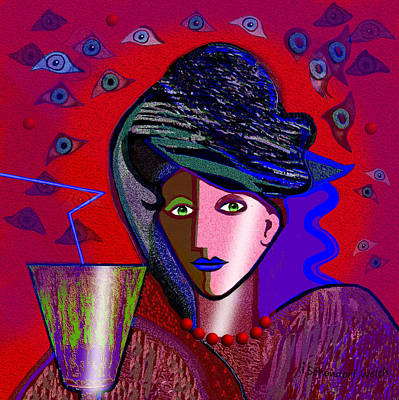 Digital Art - 766 - Lady With Big Goblet 2017 by Irmgard Schoendorf Welch