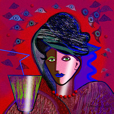Painting - 766 - Lady With  Green Drink ... by Irmgard Schoendorf Welch