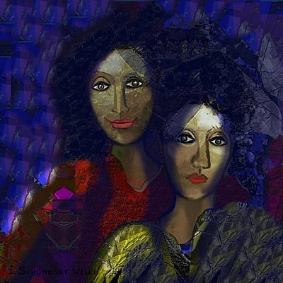 Two Ladies Painting - 775 - Sad Smile by Irmgard Schoendorf Welch