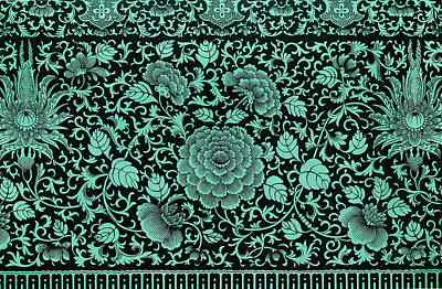 Mixed Media - Green And Black Flower Boh Art - Traditional Asian Illustrations by Wall Art Prints
