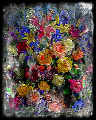 7a Abstract Floral Painting Digital Expressionism Art Print
