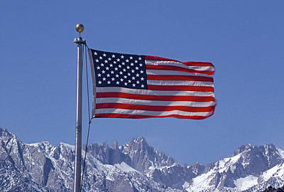 Photograph - 7mm6452 Flag Above Mt. Whitney by Ed Cooper Photography