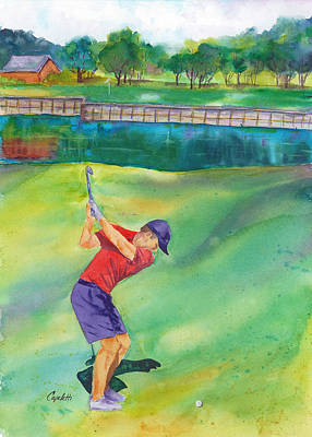 Professional Golf Painting - 7th Hole Tpc Eagle Trace Golf Course by Barb Capeletti